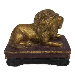 C.1980s Gilt Carved Lion Accent Piece / Paperweight on Attached Pedestal Scroll Base For Sale