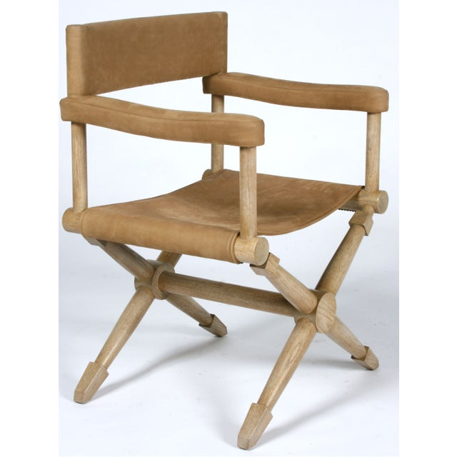 Pair of Suede Director's Chairs For Sale - Image 4 of 7