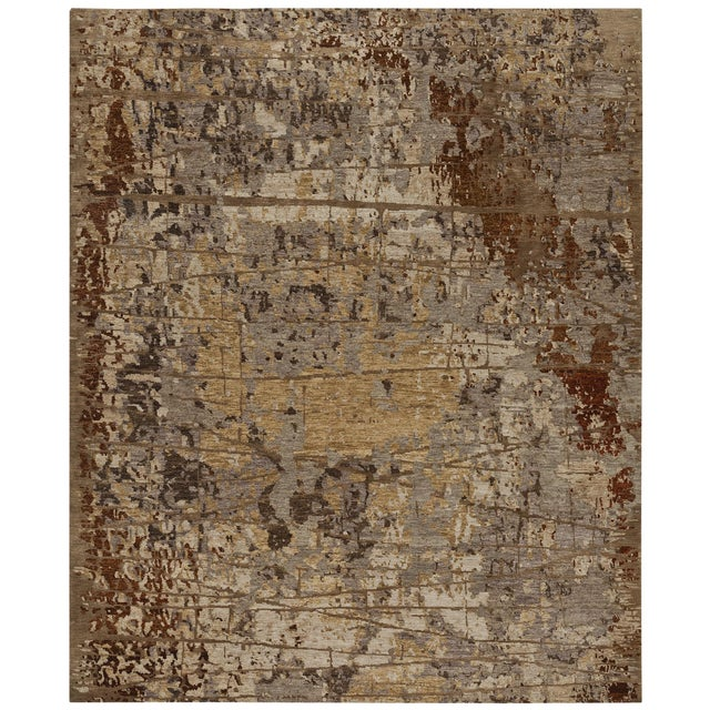 Contemporary Earth Elements - Customizable Ivory Rust Rug (8x10) For Sale - Image 3 of 3