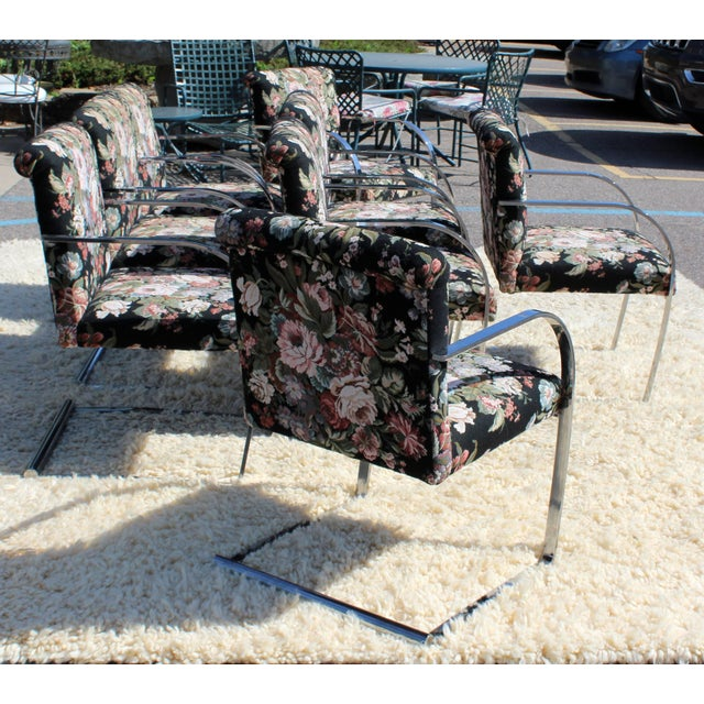 Mid-Century Modern Set Eight Chrome Cantilever Dining Armchairs Knoll Attributed For Sale In Detroit - Image 6 of 11
