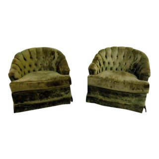 1960's Green Tufted Velvet Barrel Back Club Chairs For Sale
