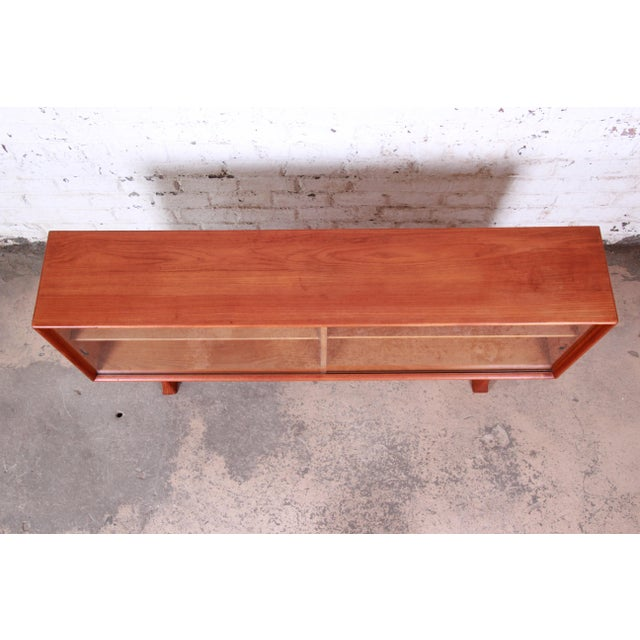 Danish Modern Teak Glass Front Credenza or Bookcase For Sale In South Bend - Image 6 of 12