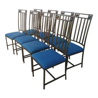 1970s Vintage Metal Dinning Chairs- Set of 8 For Sale