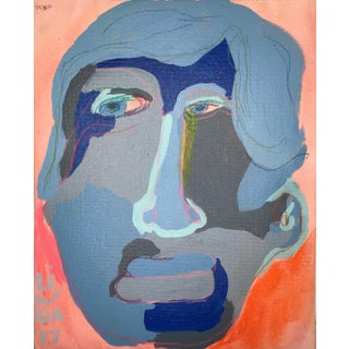 """Contemporary Abstract Portrait Painting """"Is He Ready to Go, No. 2"""" - Framed For Sale"""