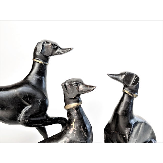 Bronze Greyhound Dog Statues - Set of 3 For Sale - Image 9 of 11