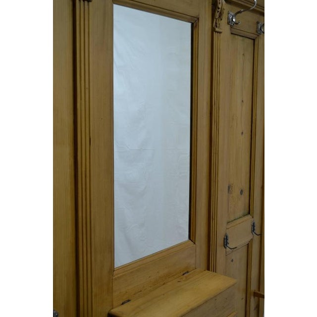 Brown Pine Paneled Hallstand With Mirror For Sale - Image 8 of 9