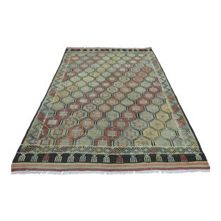 Vintage Turkish Oushak Rug Embroidery Kilim For Sale
