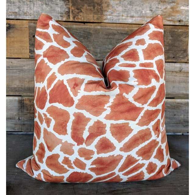 Abstract Thibaut Fabric Makena Giraffe Pillow Cover For Sale - Image 3 of 3