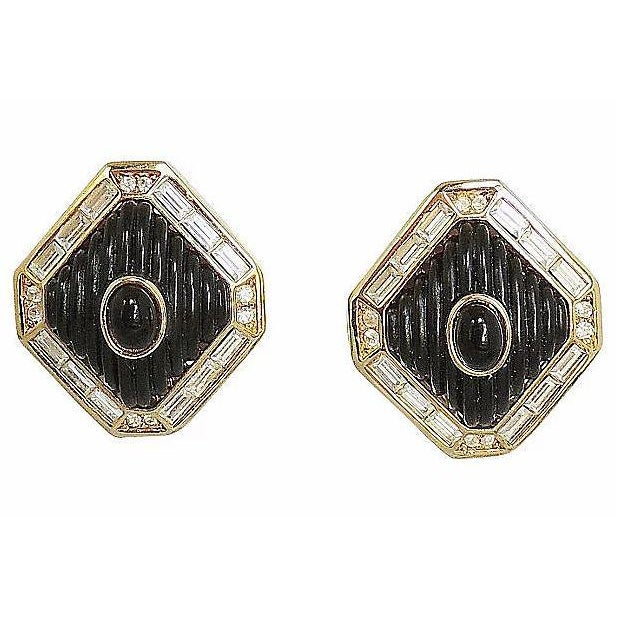 Modern Dior Black Lucite & Faux-Onyx Earrings, 1984 For Sale - Image 3 of 8