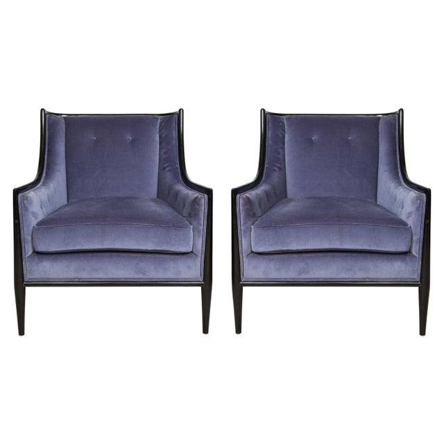 Black Mid-Century Modern Ebonized Armchairs - a Pair For Sale - Image 8 of 8