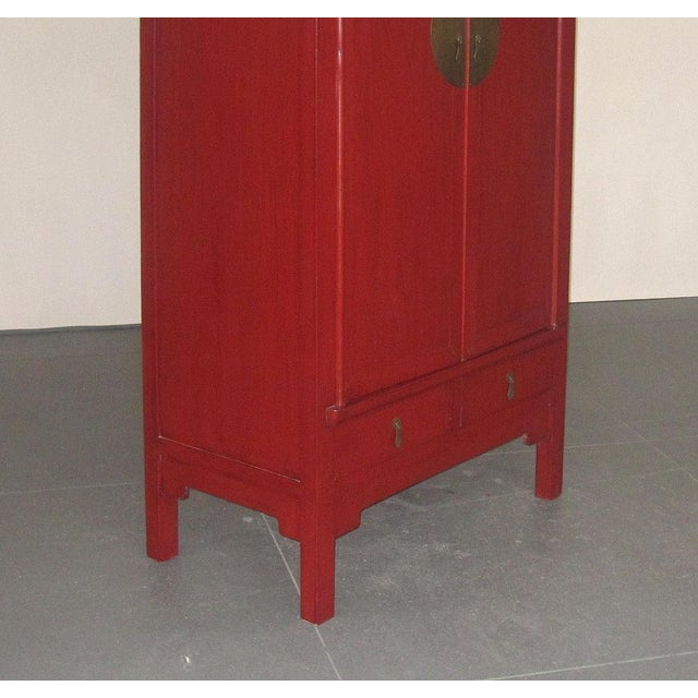Chinese Ming-Style Red Lacquer Cabinet Armoire - Image 4 of 8