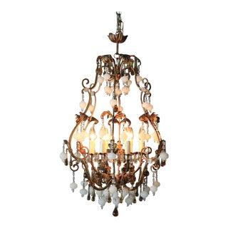Special Murano Crystal Chandelier White and Brown Colorful Amber Lustré Cage For Sale