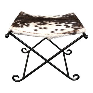 Full Hide Campaign Style Stool For Sale