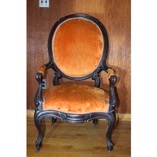 Victorian Mahogany Frame Lady's & Gentleman's Chairs & Oval Footstool Preview