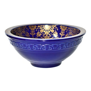 Royal Blue Porcelain Sink Basin With Gold Flora