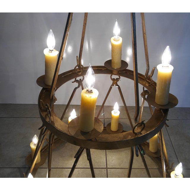 Late 20th Century Late 20th Century Vintage Handmade Wrought Iron Two Tier Chandelier For Sale - Image 5 of 12
