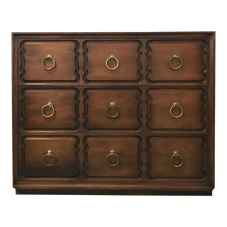 Dorothy Draper Heritage Henredon Dresser-Burnished Walnut With Brass Ring Pulls For Sale