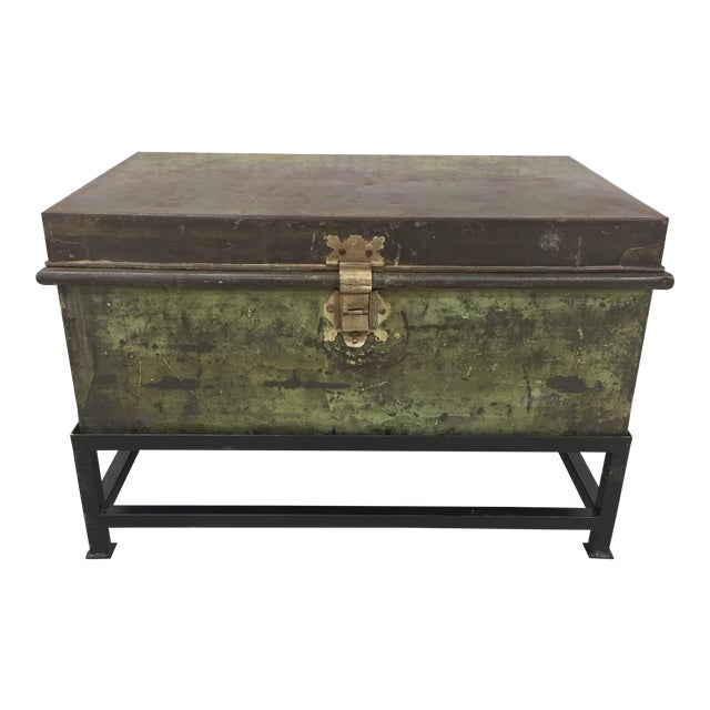 Antique English Military Metal Trunk on Stand For Sale