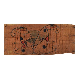 Abstract Outsider Folk Art Pen & Ink Wood Panel
