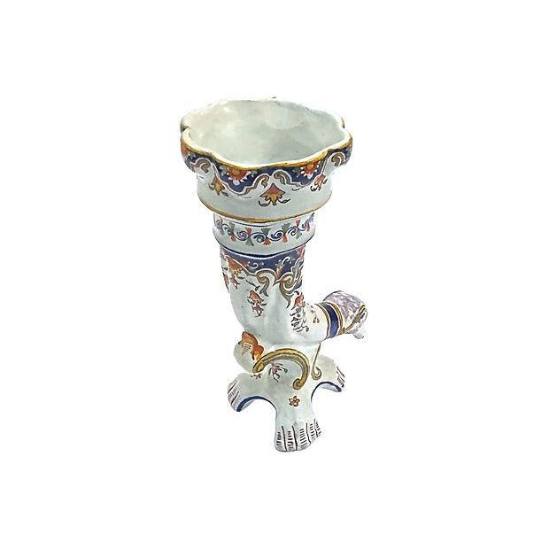 Boho Chic Antique Faience Ram's Head Trumpet Vase For Sale - Image 3 of 10