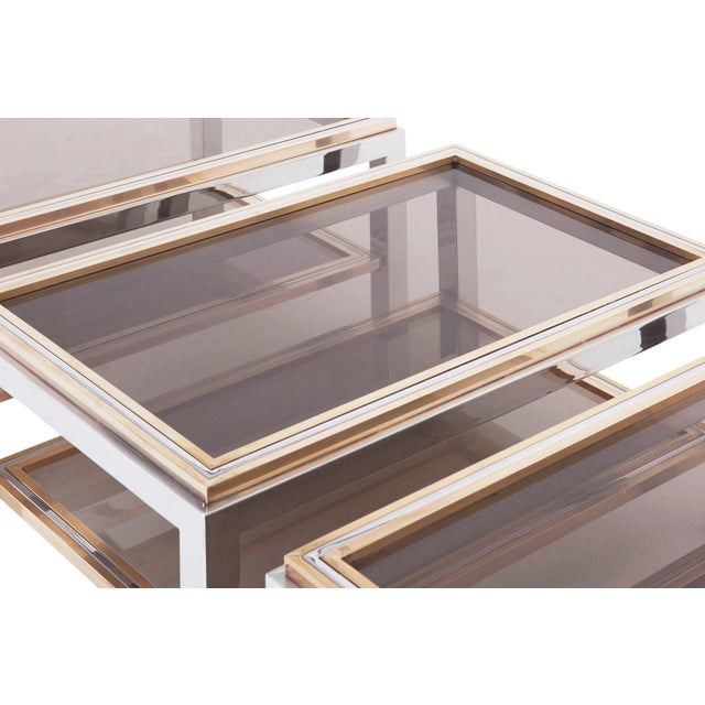 Gold Willy Rizzo Rectangular Side Table in Brass, Chrome & Glass For Sale - Image 8 of 12