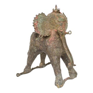 Antique Indian Elephant Figurine | Bronze With Holi Patina For Sale