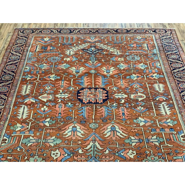 """This is antique Persian Heriz/Sarapi, Wool, Hand knotted rug, with warm and rustic colors! Measurements are 9'2""""x11'6"""""""