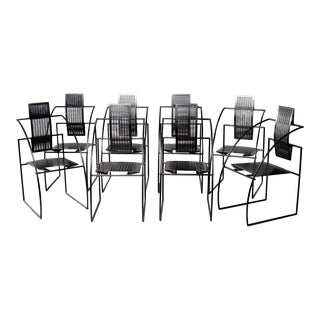 Set of Eight Alias Italian Mario Botta Quinta Op Art Chairs For Sale