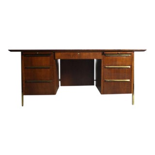 Mid-Century Modern Brass Detailed Walnut Executive Desk For Sale