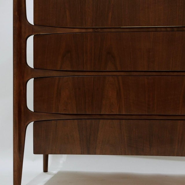 Wood Sculptural William Hinn for Urban Furniture Scandinavian 4 Drawer Walnut Chest For Sale - Image 7 of 11