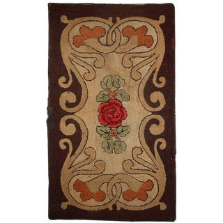 """1900s Handmade Antique American Hooked Rug - 2'5"""" x 4'2"""" For Sale"""