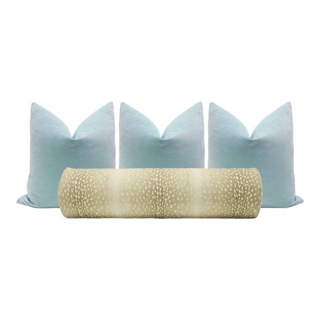 Natural Antelope Bolster and Spa Blue Velvet Pillows - Set of 4 For Sale