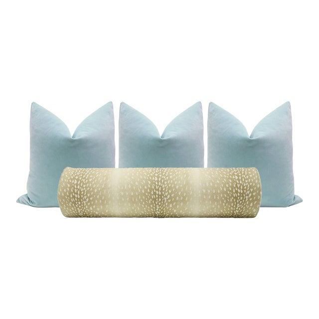 Natural Antelope Bolster and Spa Blue Velvet Pillows - Set of 4 - Image 1 of 9