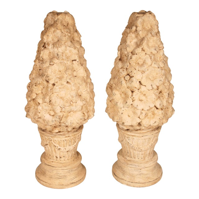 1970s Ceramic Floral Mantle Topiaries or Garden Statues - a Pair For Sale