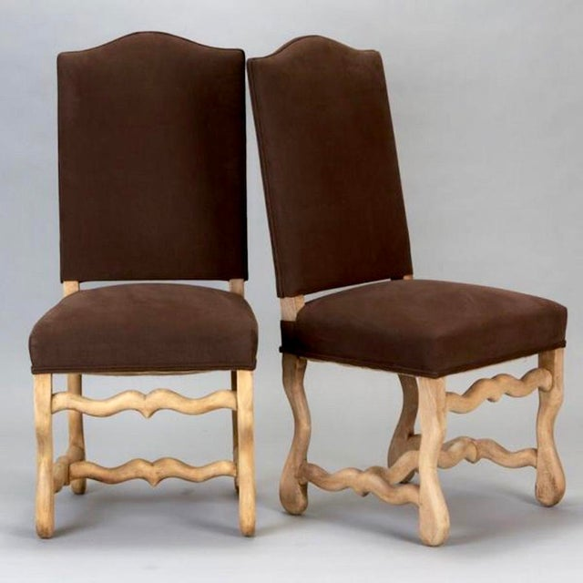 Set of 6 French Os De Mouton Louis XIII Bleached Oak Upholstered Dining Chairs - Image 4 of 8