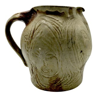 Art Studio Pottery Drip Glaze Pitcher With Sculpted Female Faces - Signed