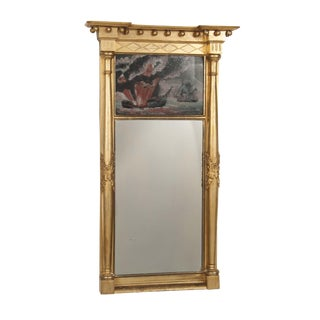 American Federal Gilt Mirror With Eglomise Painting For Sale
