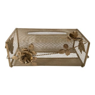 Hollywood Regency Gold Tissue Box Cover For Sale