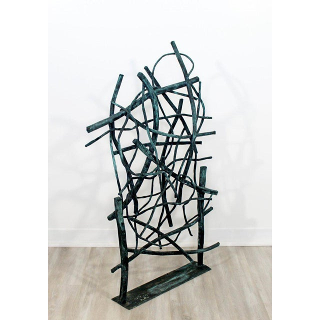 Metal Contemporary Forged Painted Copper Metal Abstract Table Sculpture Robert Hansen For Sale - Image 7 of 9