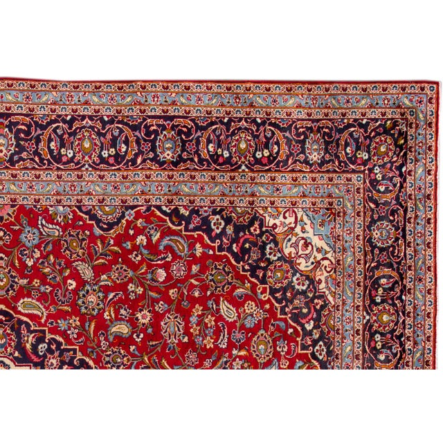 "1960s Vintage Persian Kashan Rug, 9'07"" X 13'00"" For Sale - Image 5 of 10"