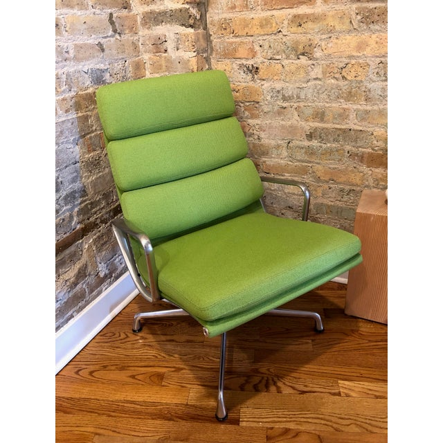 2010s Herman Miller Eames Neon Green Pad Lounge Chairs With Ottoman - a Pair For Sale - Image 5 of 8