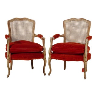 Fratelli Boffi Louis XV French Cane Back and Velvet Bergere Armchairs Italy - a Pair For Sale