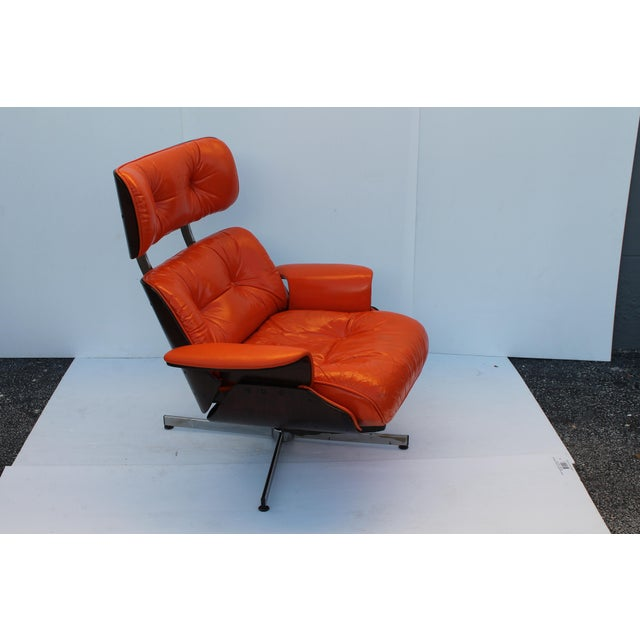 Mid-Century Modern Orange Leather Recliner - Image 6 of 11