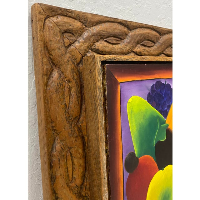 """Haitian Artist Alberoi Bazile """"Fruit"""" Still Life Oil Painting in Hand Carved Frame C.1970 For Sale - Image 11 of 13"""