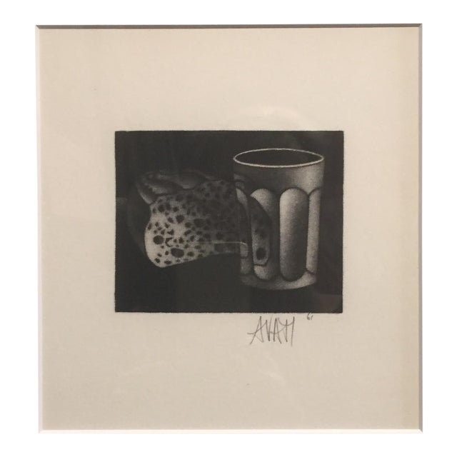 1961 Bread and Water Mario Avati Mezzotint Still Life - Image 1 of 4