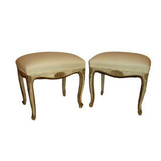 French Painted Stools -- A Pair For Sale