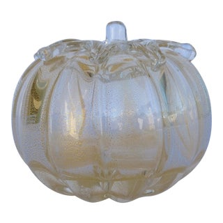 c.1960s Barovier Italian Murano Clear & Gold Gourd or Large Pumpkin Accent