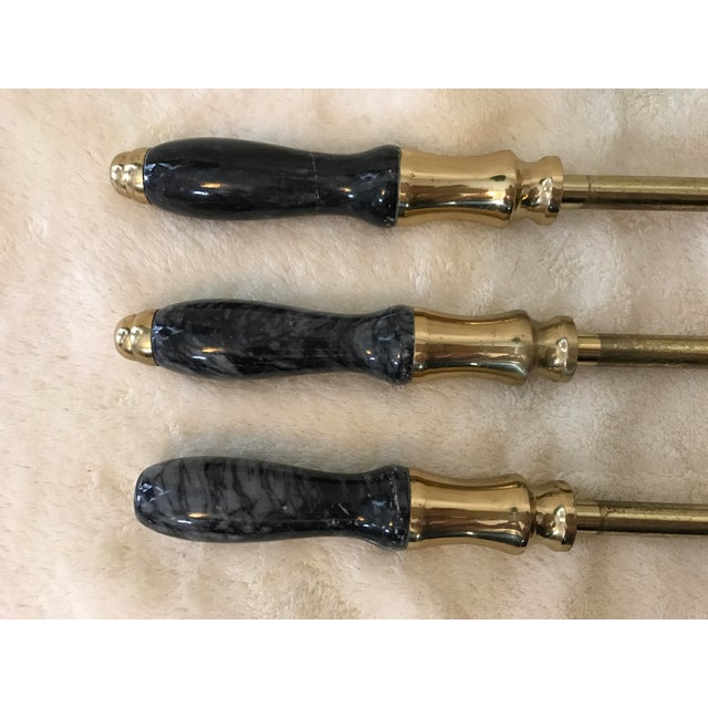 Brass & Black Marble Fireplace Tools Set - Image 4 of 8