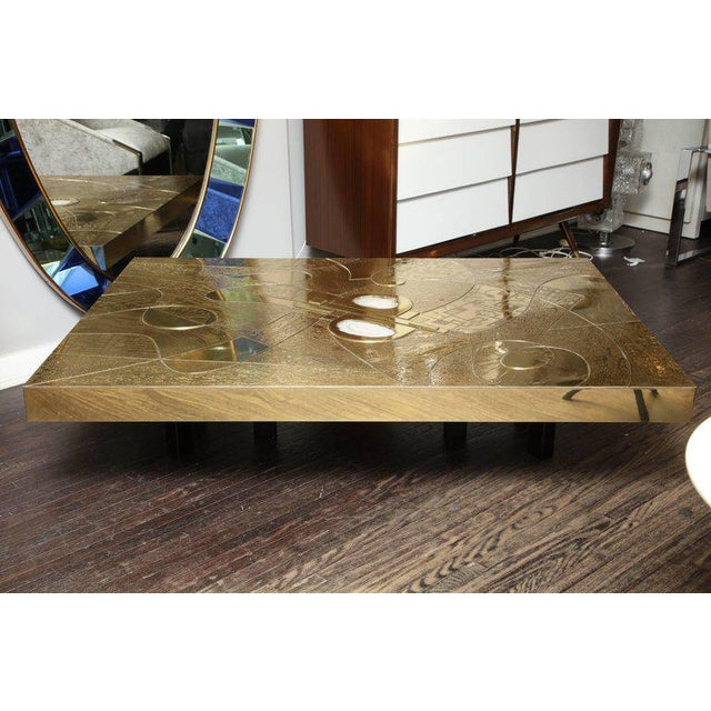 Spectacular Etched Brass and Double Agate Rectangular Cocktail Table For Sale - Image 9 of 10