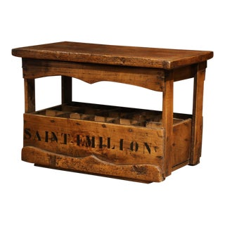 "Old French Pine 15 Wine Bottle Storage Cabinet With ""Saint Emilion"" Inscription For Sale"